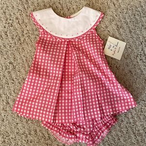 NWT Baby Girls Hot Pink Check Dress w/ Bloomers 6m